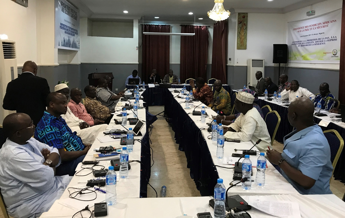 Participants at the ITUC Conference on Peace and Security, Abuja, 5-6 October 2017
