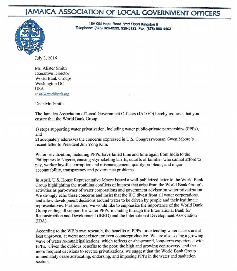 letter from jalgo jamaica to the world bank stop supporting water