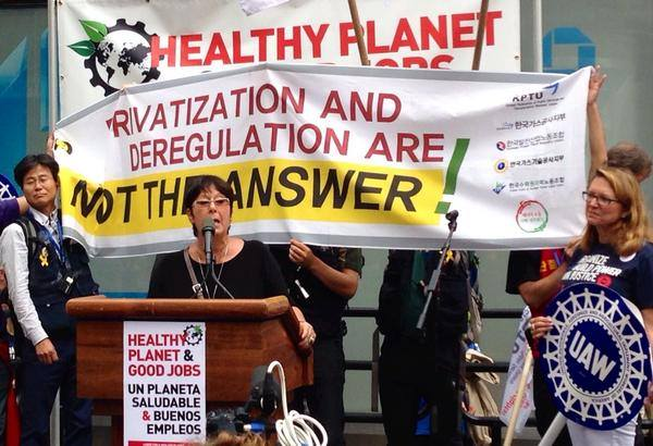 Rosa Pavanelli at the People's Climate March