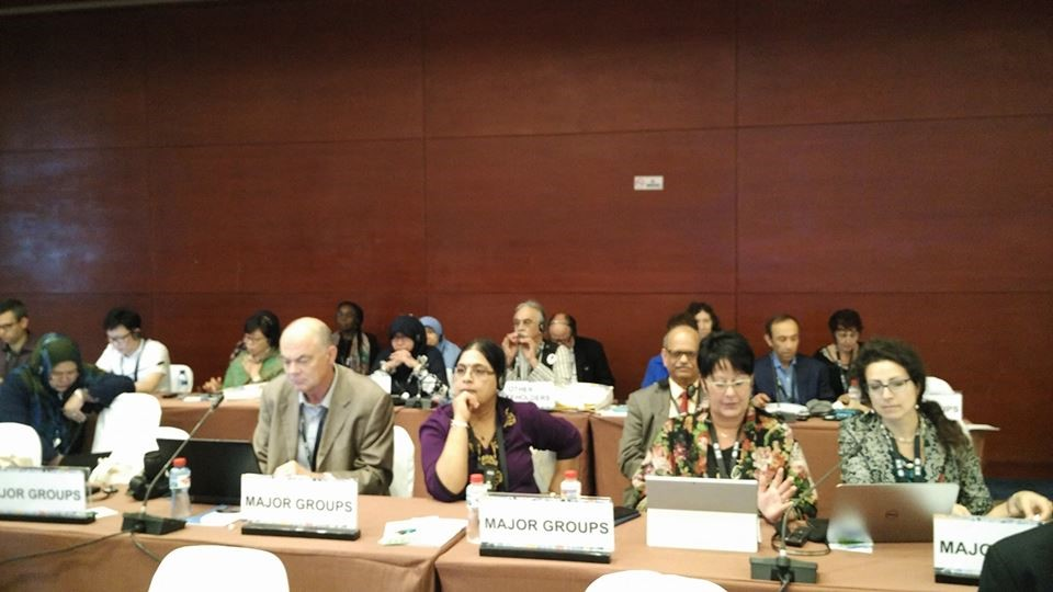 Trade Unions and Workers group and PSI delegation led by General Secretary, Rosa Pavanelli at the PrepCom3 of Habitat III on 26 July 2016 in Surabaya, Indonesia