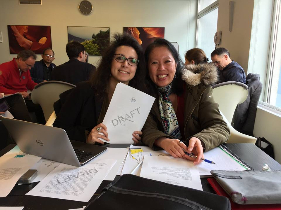 PSI's Daria Cibrario and BWI's Jin Sook Lee working over the draft of the General Assembly of Partners (GAP) of Habitat III pushing for worker and union friendly language in the Habitat III European Regional Conference, Prague, March 2016.