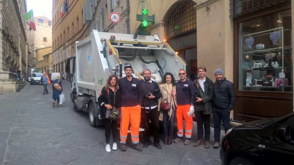 Rubbish collectors in Siena