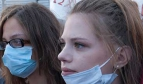 Young women at the demonstrations in Greece