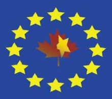 Canadian maple leaf surrounded by EU stars
