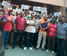 Com. Ayuba Wabba, NLC President, and other union leaders picketed the Ministry of Health in Abuja