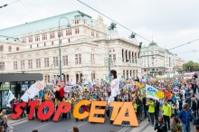Photo: TTIP and CETA demonstrations in September, Vienna, Austria. Photo: Christoph Liebentritt/Global 2000 – Creative Commons.