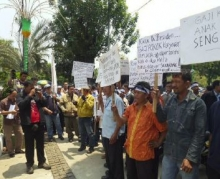 Demonstration of water workers in Indonesia