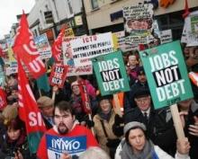 People demonstrating in Ireland