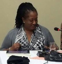 Lloyquita Symmonds, BPSU, Bermudas, copresidenta del Grupo Director sobre SSS del Caribe, presenta opiniones y propuestas al SUBRAC 2017