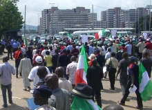 Nigerian trade unionists demonstrate against government plans