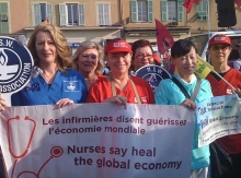 Nurses demonstrating at the G20 meeting in Cannes, France