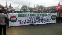 Workers rally in Oyo, Nigeria