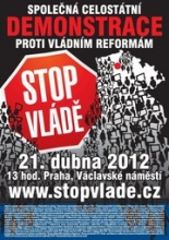 Poster for anti-government reform demonstration in Prague