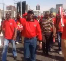COSATU members demonstrating