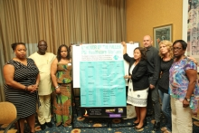 Photo: PSI delegation meets with Dr Toni Lewis (far left) and SEIU members. Photo:SEIU1199