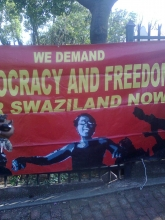 Banner demanding democracy and freedom in Swaziland