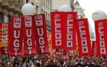 UGT and CC.OO banners