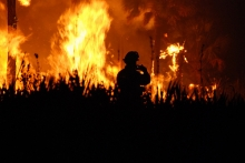 A wildfire at Florida Panther NWR. Photo by Josh O'Connor - USFWS