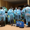 The fight against Ebola in Guinea - Healthworkers in protective equipment