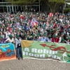 One thousand people demonstrating for a robin hood tax