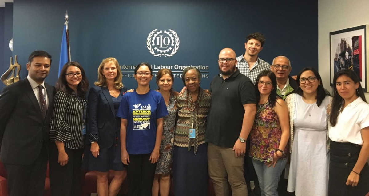 Trade Union delegation at a strategy meeting hosted by the ILO Office in New York.
