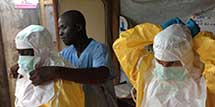 Ebola Health workers wearing PPE