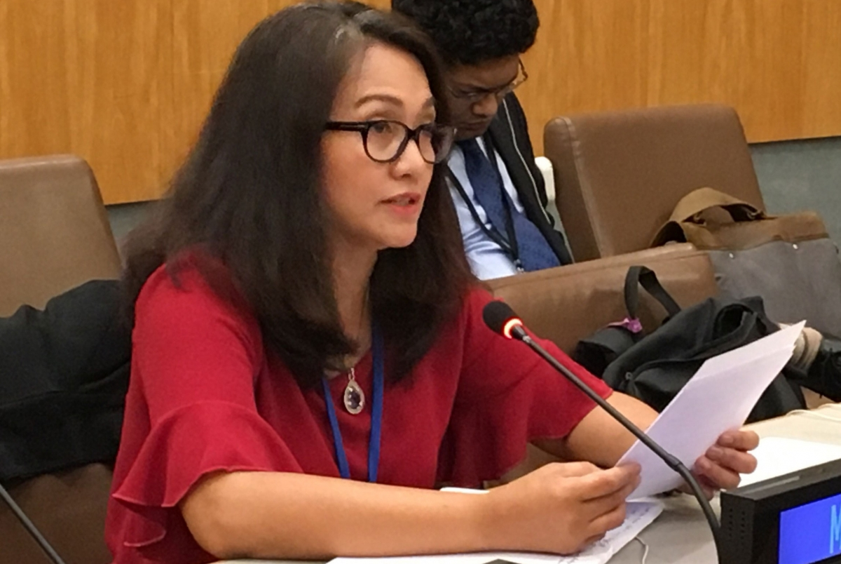 Genevieve Gencianos delivers PSI's Statement at the Informal Dialogue with the Co-Facilitators during the last round of negotiations of the UN Global Compact on Migration.