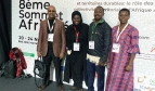 The PSI delegation at Africities2018: from the right, PSI Sub-regional Secretary for English-speaking Africa Everline Aketch (PSI Nairobi); PSI Tax and Trade Coordinator Daniel Oberko (PSI Lomé), Fatou Diouf (SATSE Senegal) and Hon. Roba Duba (General Secretary KCGWU Kenya)