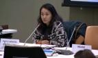 Geneviève Gencianos, Coordinatrice du programme migration de l'Internationale des Services Publics (ISP), lors de sa participation à la réunion