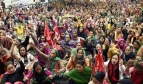 Women workers at a sit-down demo