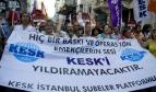Turkish trade union demonstrators holding a flag