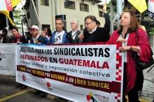 Manifestación en apoyo de sindicalistas guatemaltecos encarcelados