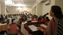 Picture caption: Shama Gulani, General Secretary of ASLHWA addresses the public meeting in Karachi