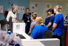 Health staff discuss the long term plan with UK Prime Minister Theresa May