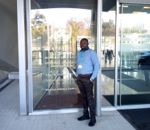 Sherif Olanrewaju at the WHO entrance
