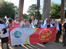 Rosa Pavanelli and ILC delegates - Route of Shame 2013