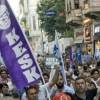 demonstrators in Turkey holding a KESK banner